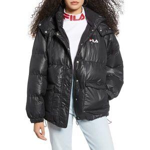 Fila Remie Hooded Puffer Jacket Black Size Medium